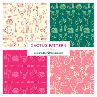 Pack de motifs avec des croquis de cactus