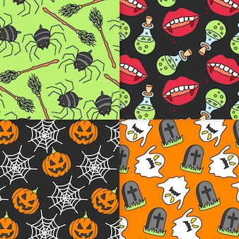 Pack de motifs d'halloween dessinés à la main