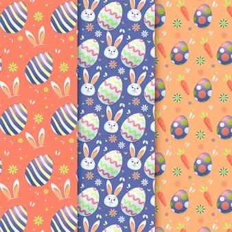 Pack de motifs de pâques design plat