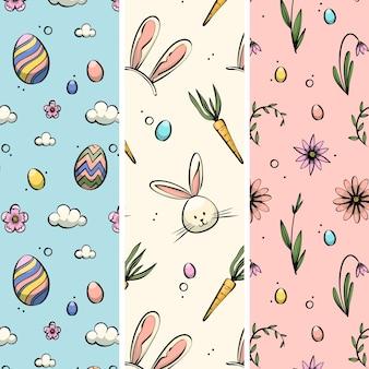 Pack de motifs de pâques dessinés à la main