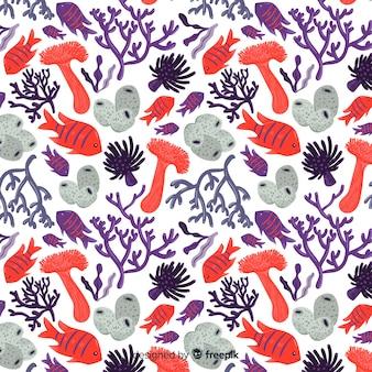 Pack de motifs plats colorés de corail et de poissons