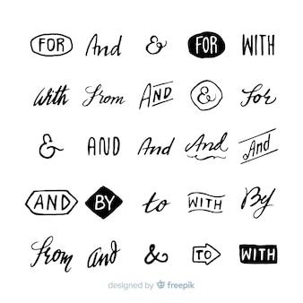 Pack de mots clés de mariage dessinés à la main