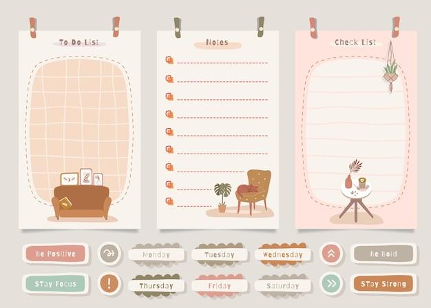 Pack de notes à faire avec illustration de thème de décoration intérieure.