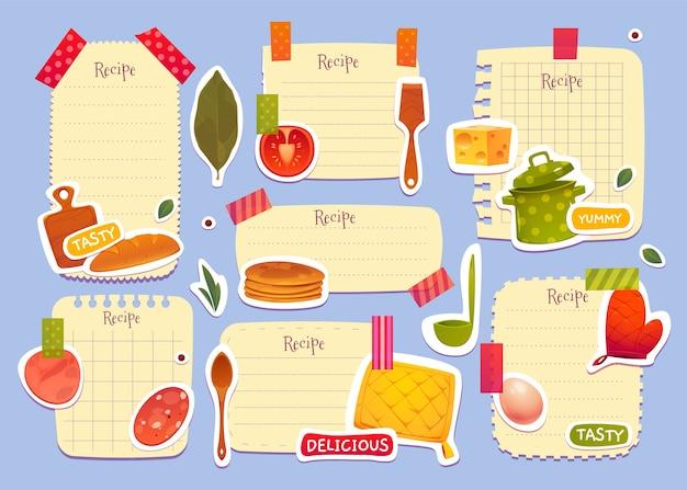 Pack de notes de recette de dessin animé