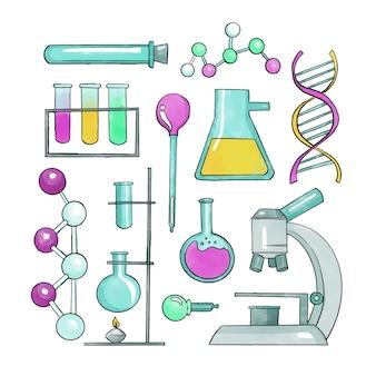 Pack d'objets de laboratoire scientifique dessinés à la main