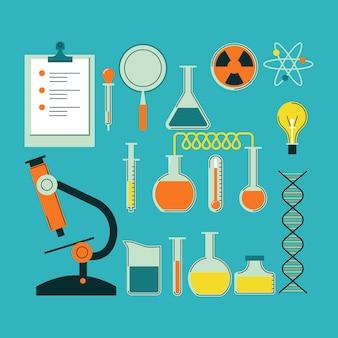 Pack d'objets de laboratoire scientifique