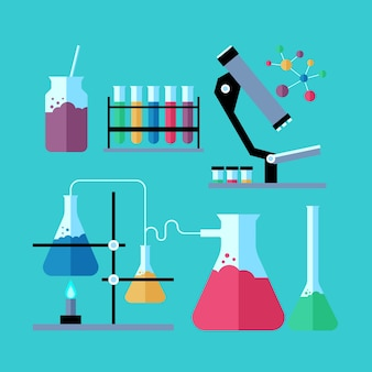 Pack d'objets de laboratoire scientifique