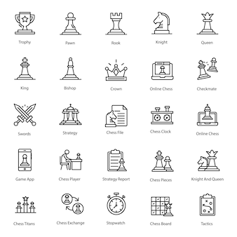Pack of chess line icon