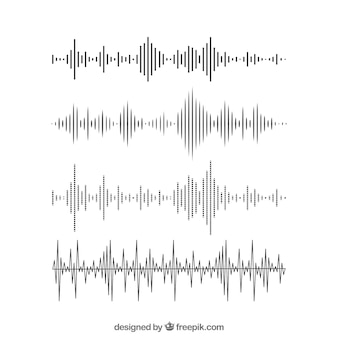 Pack d'ondes sonores dans un design plat