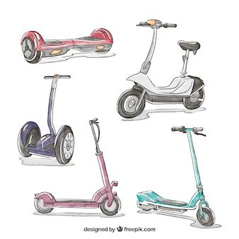 Pack original de scooters dessinés à la main