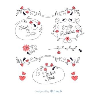 Pack d'ornement de mariage floral dessiné à la main