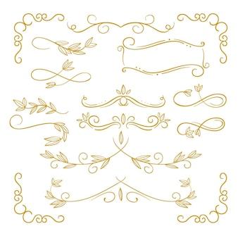 Pack d'ornements calligraphiques dorés