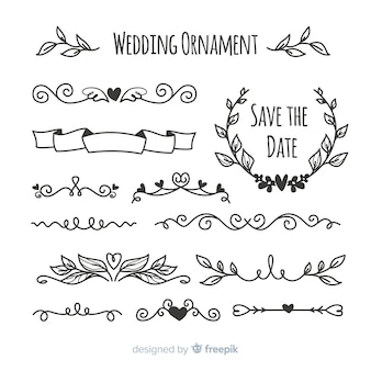 Pack d'ornements de mariage dessinés à la main