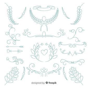 Pack d'ornements de mariage dessinés à la main