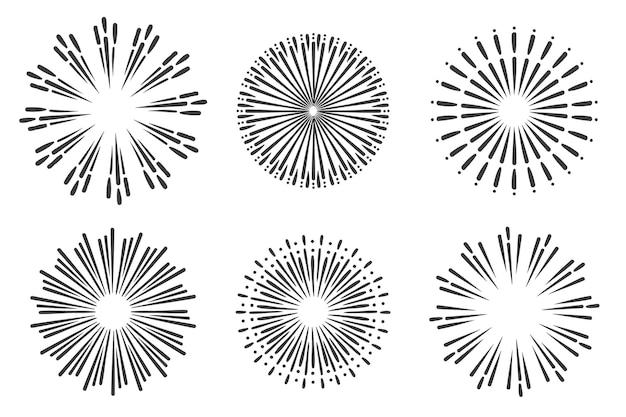 Pack d'ornements sunburst dessinés à la main