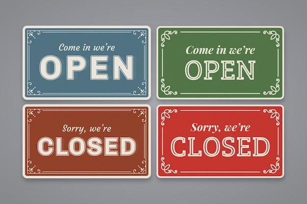 Pack de panneaux vintage ouverts et fermés