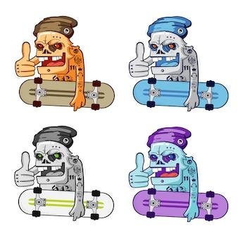 Pack de patineur de crâne de dessin animé