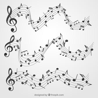 Pack de pentagrammes avec notes musicales et clef triple