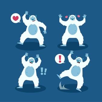 Pack de personnages de bonhomme de neige abominable yeti cartoon