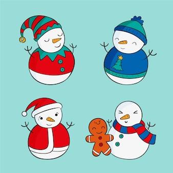 Pack de personnages de bonhomme de neige dessinés à la main