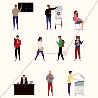 Pack de personnages d'entrepreneurs en design plat
