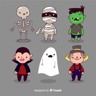 Pack de personnages de halloween dessinés à la main