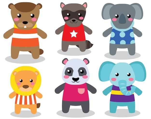 Pack personnages mignons animaux de dessin animé