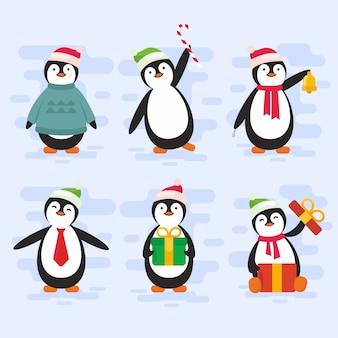 Pack de personnages de pingouin de noël en design plat