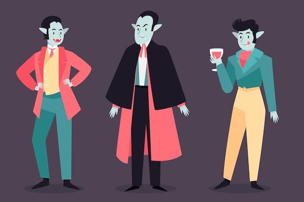 Pack de personnages de vampire design dessiné à la main