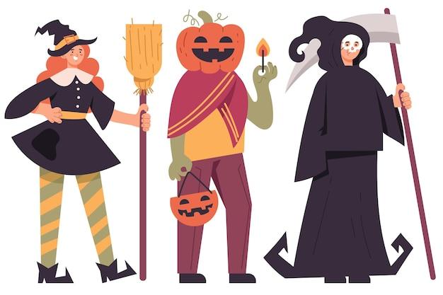 Pack de personnes en costumes d'halloween