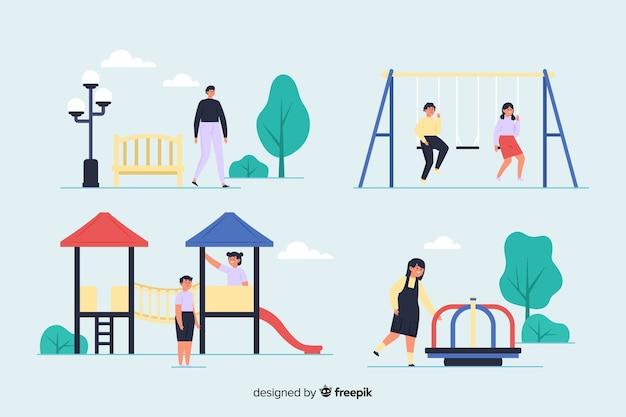 Pack de personnes dans le parc