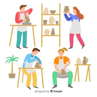 Pack de personnes fabriquant un design plat de poterie
