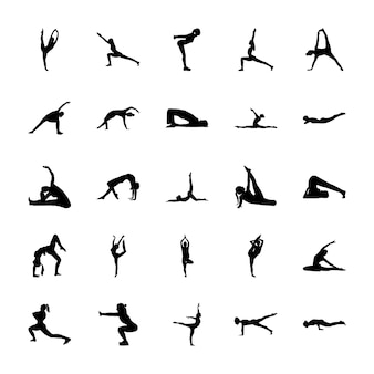 Pack de pictogrammes solides de yoga