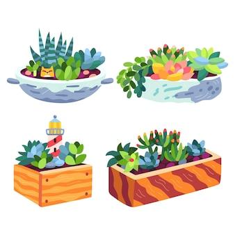 Pack de plantes d'intérieur dessinées à la main