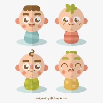 Pack plat des bébés avec des visages ronds
