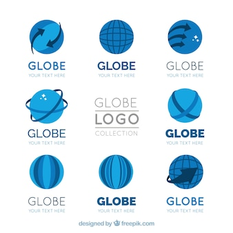 Pack plat de logos de globe en tons bleus
