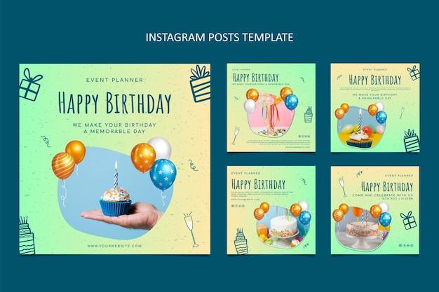 Pack de post d'anniversaire à texture dégradée
