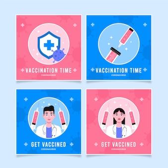 Pack de post instagram de vaccin plat