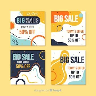 Pack de poste instagram coloré pour vente abstraite