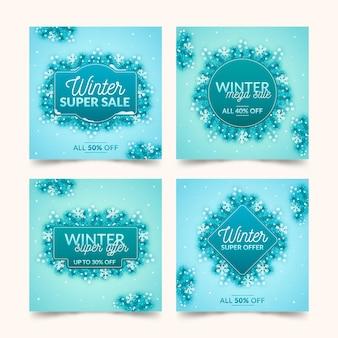 Pack De Posts Instagram De Soldes D'hiver Vecteur gratuit