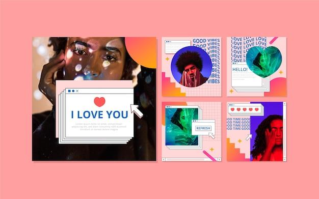 Pack de posts instagram vaporwave linéaire