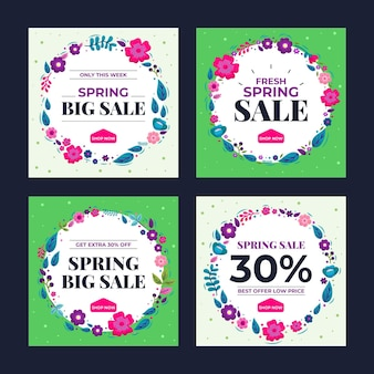 Pack de posts instagram de vente de printemps plat