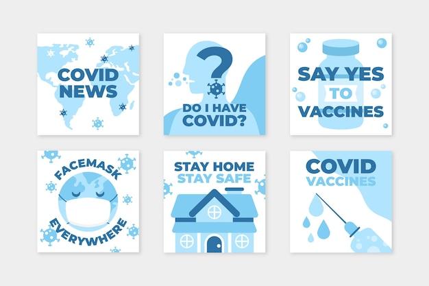 Pack de publication instagram pour coronavirus design plat