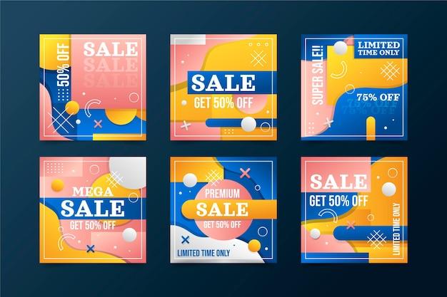 Pack de publication instagram de vente dégradée