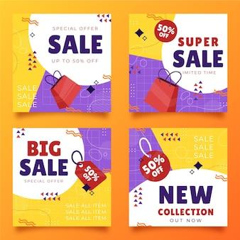 Pack de publication instagram de vente dessiné à la main