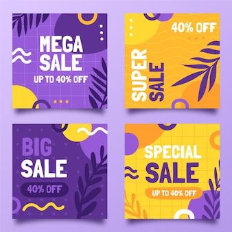 Pack de publication instagram de vente à plat dessiné à la main