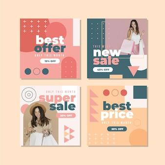 Pack de publication instagram de vente à plat avec photo