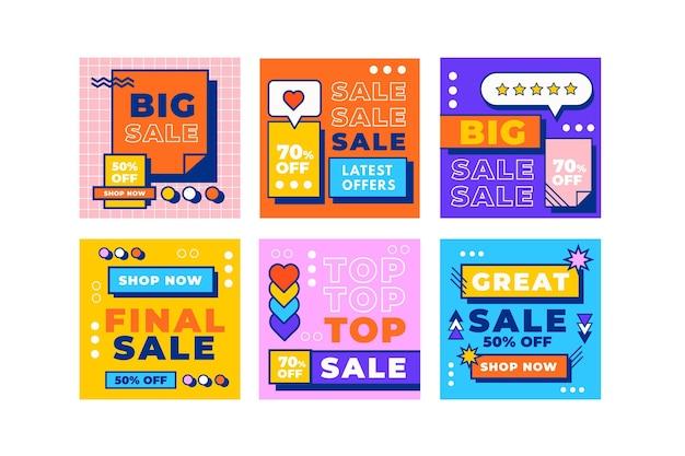 Pack de publication instagram de vente à plat