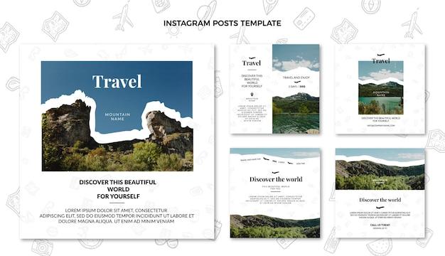 Pack de publication instagram de voyage plat