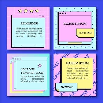 Pack De Publications Instagram Vaporwave Linéaire Vecteur gratuit